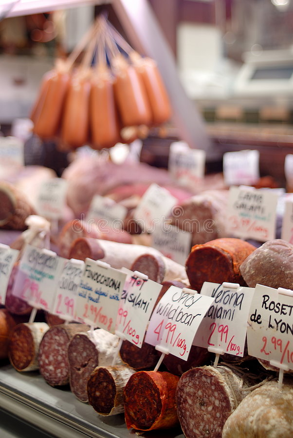 Deli Meat Display Case. Different types of cured meats on display at deli stock photography