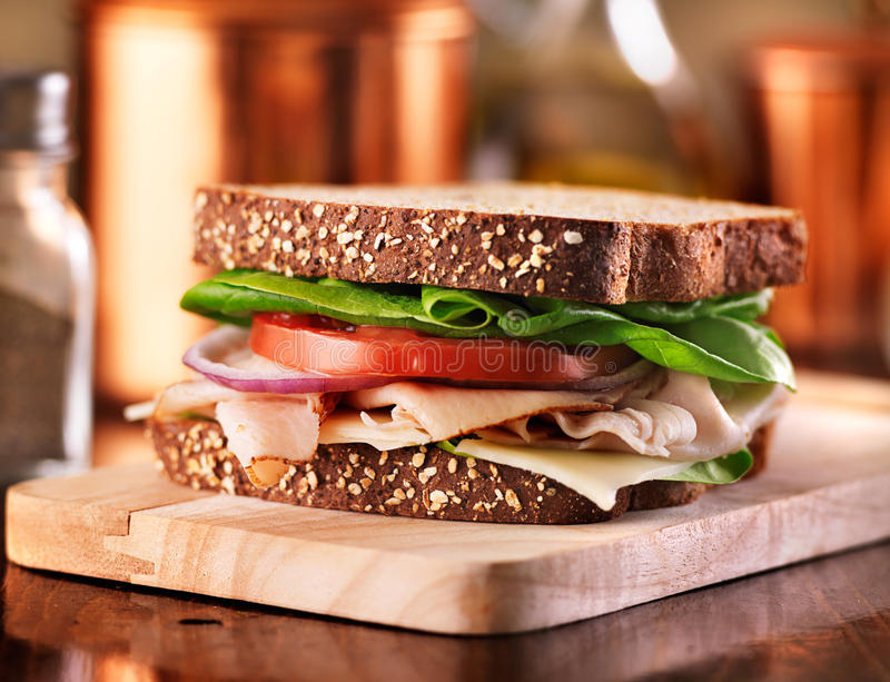 Deli meat sandwich with turkey. Shot with selective focus royalty free stock image