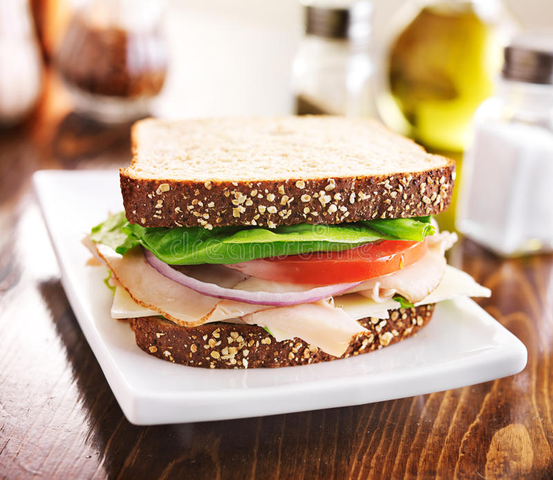 Deli meat sandwich with turkey, tomato, onion, and lettuce. Shot close up with selective focus stock photo