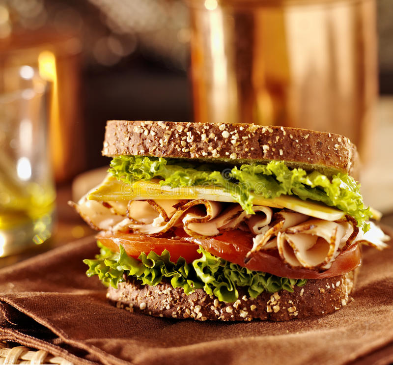 Free Deli Meat Sandwich With Turkey Royalty Free Stock Photos - 30670218