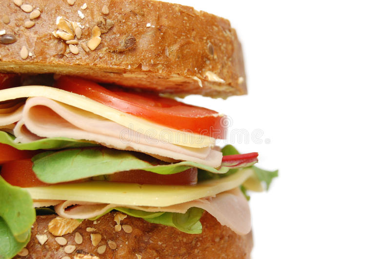 Deli sandwich. Closeup of a large deli sandwich royalty free stock images