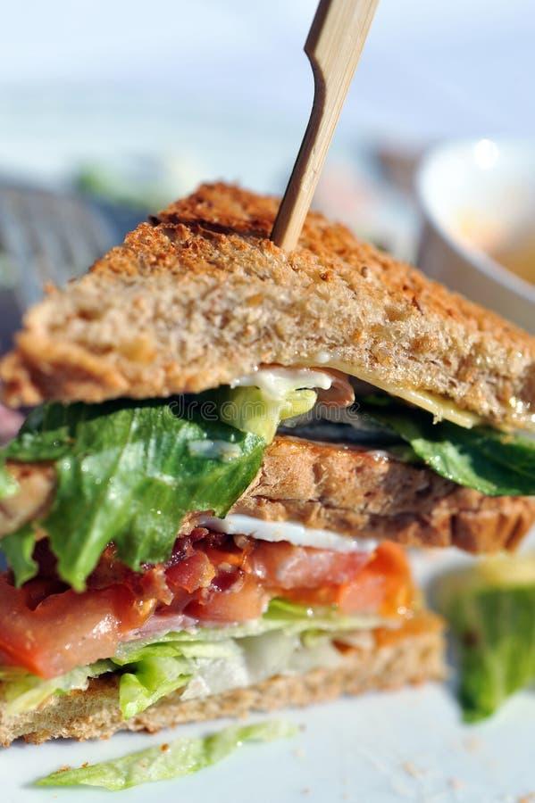 Deli sandwich. Closeup of a thick, tasty, delicious deli sandwich with salad, ham, eggs and tomato stock image