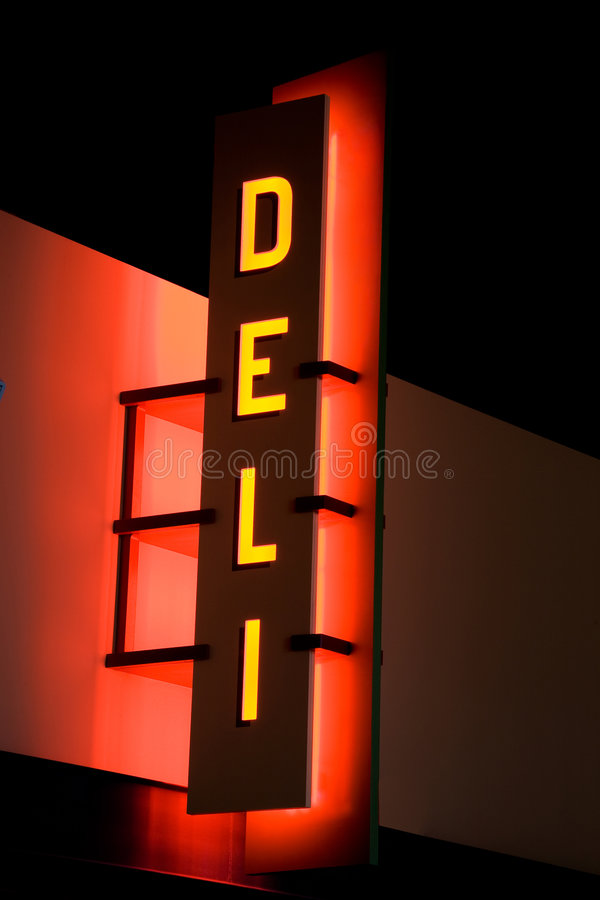 Deli Sign Glowing stock image