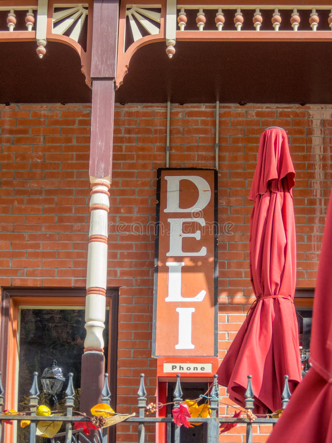 Deli sign. Inviting deli, old western town royalty free stock photography