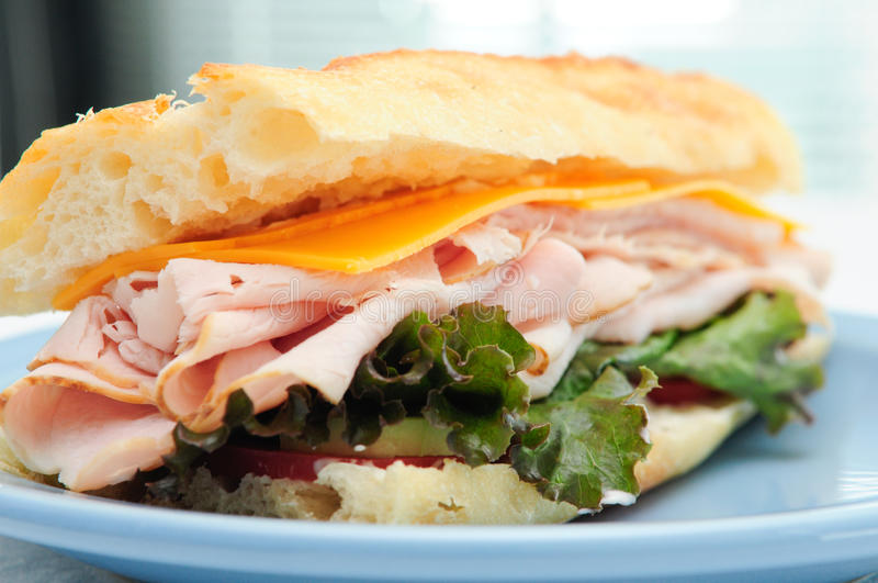 Deli sliced turkey sandwich royalty free stock photography