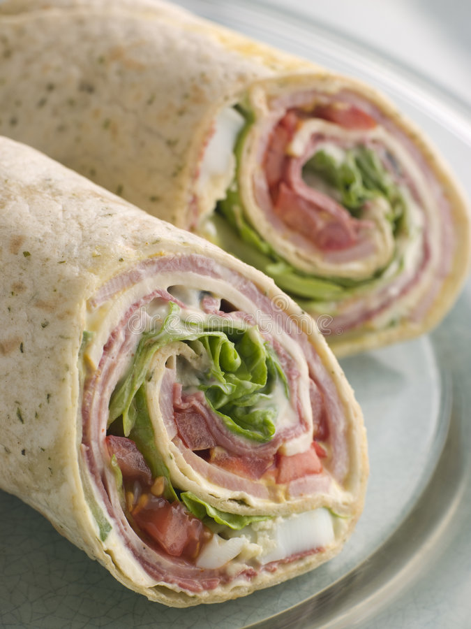 Free Deli Tortilla Wrap Cut In Half Royalty Free Stock Photography - 5575107