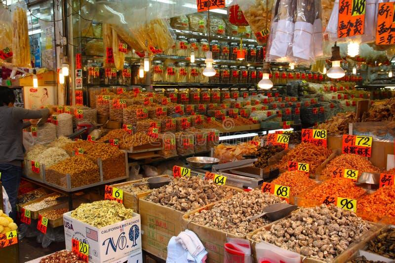 Delicadezas secadas populares de la comida en Hong Kong fotografía de archivo