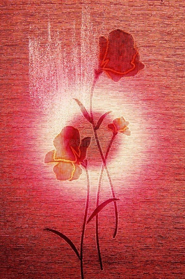 Delicatamente papaveri sulla tela di canapa. royalty illustrazione gratis
