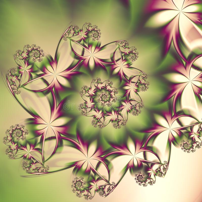 Delicate abstract butterfly spiral fractal for summer or spring designs stock illustration