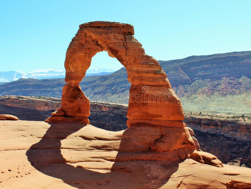 Delicate Arch, Arches Nat. park Moab UT. Front view of Delicate Arch in Arches Nat. Park royalty free stock images