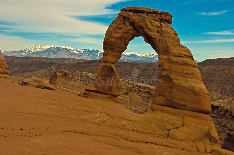Delicate Arch And La-Sal Mountains Royalty Free Stock Image