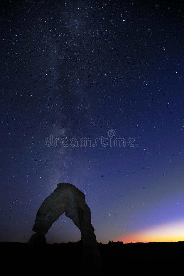 Delicate Arches Against Milky Way stock photo