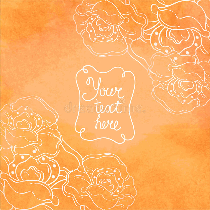 Delicate background with white contour flowers, co royalty free illustration
