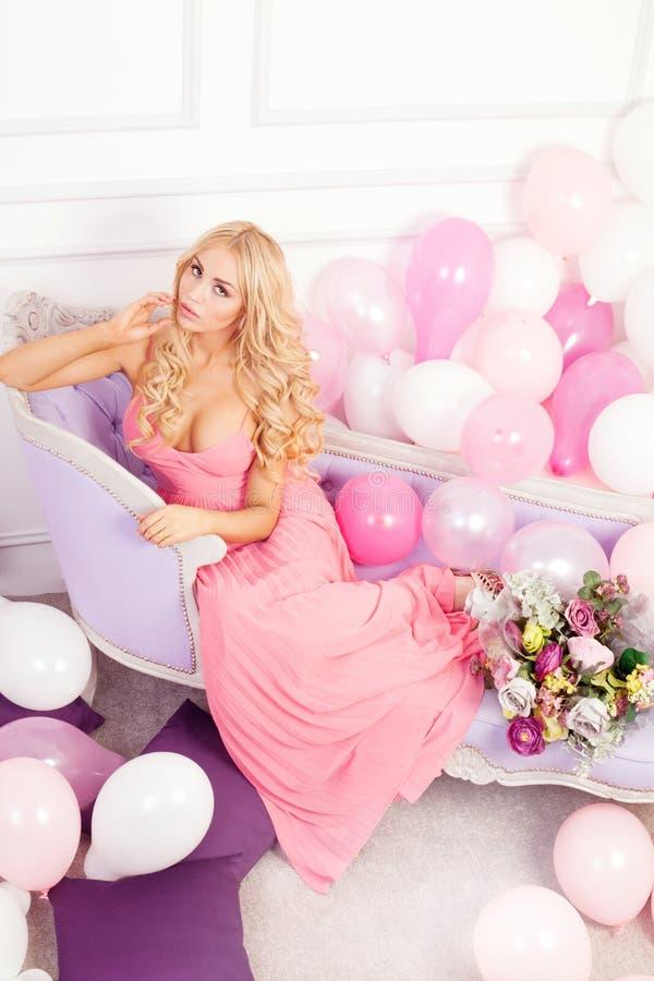 Delicate blonde woman . stock photos
