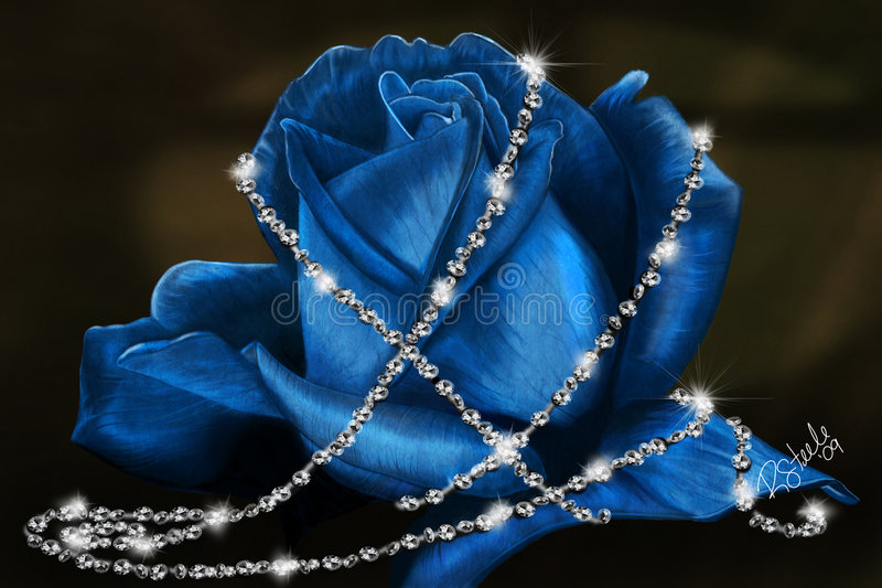 Delicate Blue Rose. Blue rose and diamonds drawn with Wacom tablet placed on a Nescreationdesigns backdrop royalty free stock image