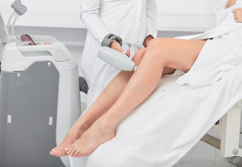 Laser Epilation And Cosmetology  Hair Removal Depilation Procedure Close Up  Cosmetology And Spa