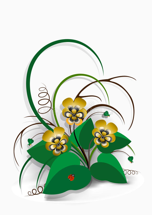 Download Delicate Bouquet Of Yellow Pansies On  White Background Stock Illustration - Image: 31210840