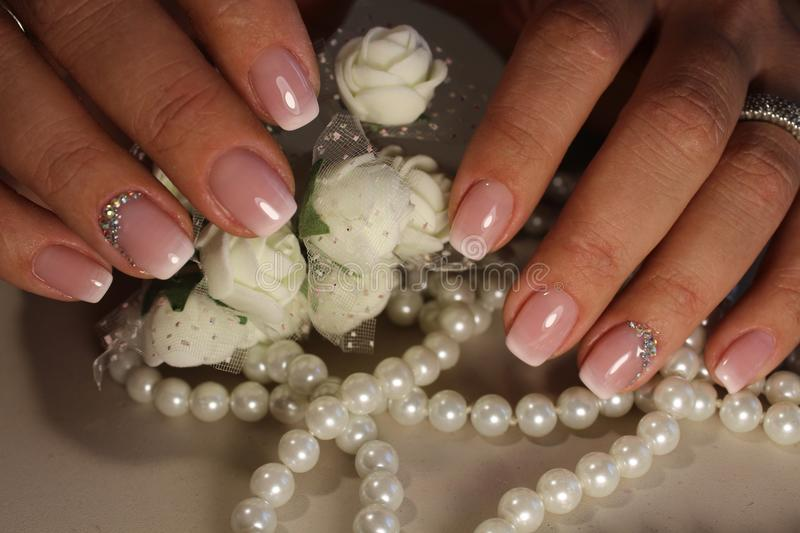 Manicure design French stock photos
