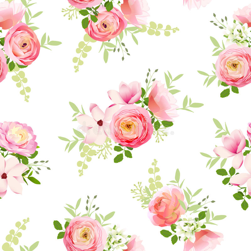 Delicate bunch of spring fresh flowers. Rose, ranunculus, magnolia, peony seamless vector print vector illustration