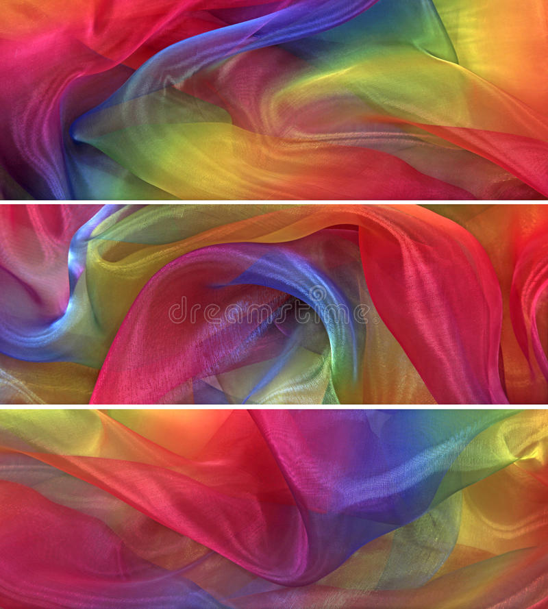 Delicate chiffon material banners royalty free stock images