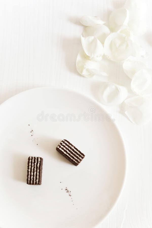 Delicate chocolate wafers royalty free stock photography