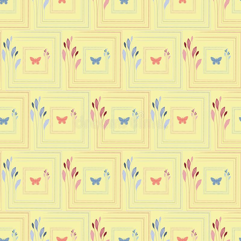 Delicate coral and blue hand drawn butterflies in elegant floral square frames. Seamless vector pattern on yellow royalty free illustration