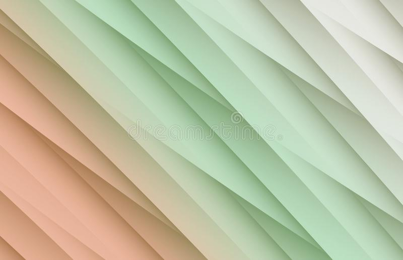 Delicate coral, green, and gray white overlapping diagonal lines angles abstract background. High resolution computer generated abstract fractal background royalty free illustration