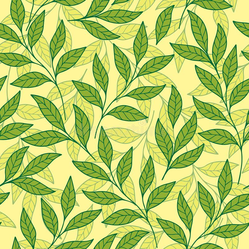 Delicate design of tender branches and leaves mosaic of leaves of different shades of green. vector seamless pattern. Delicate design of tender branches and vector illustration