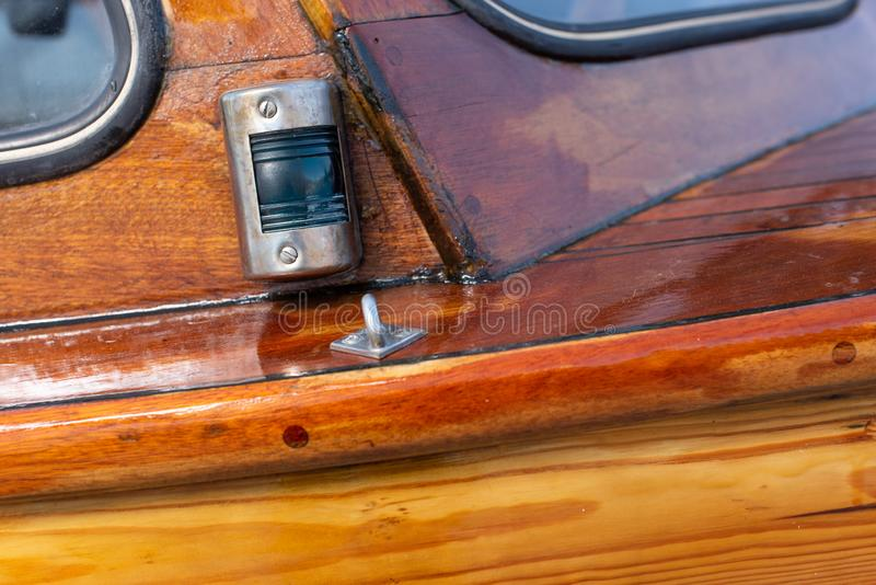 Delicate details of a hand made wooden boat royalty free stock photography