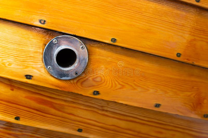 Delicate details of a hand made wooden boat stock photo