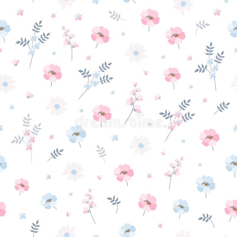 Delicate ditsy floral pattern. Seamless vector design with light blue and pink flowers on white background. vector illustration