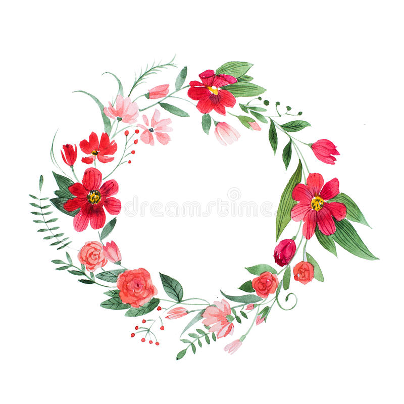 Delicate floral coronet made of pink and red flowers and leaves hand-drawn with watercolor stock illustration