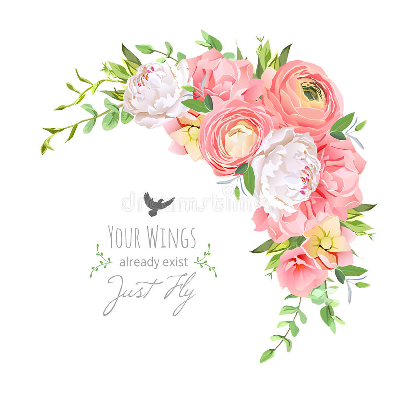 Delicate floral vector frame with bright ranunculus, peony, rose, carnation, green plants on white royalty free illustration
