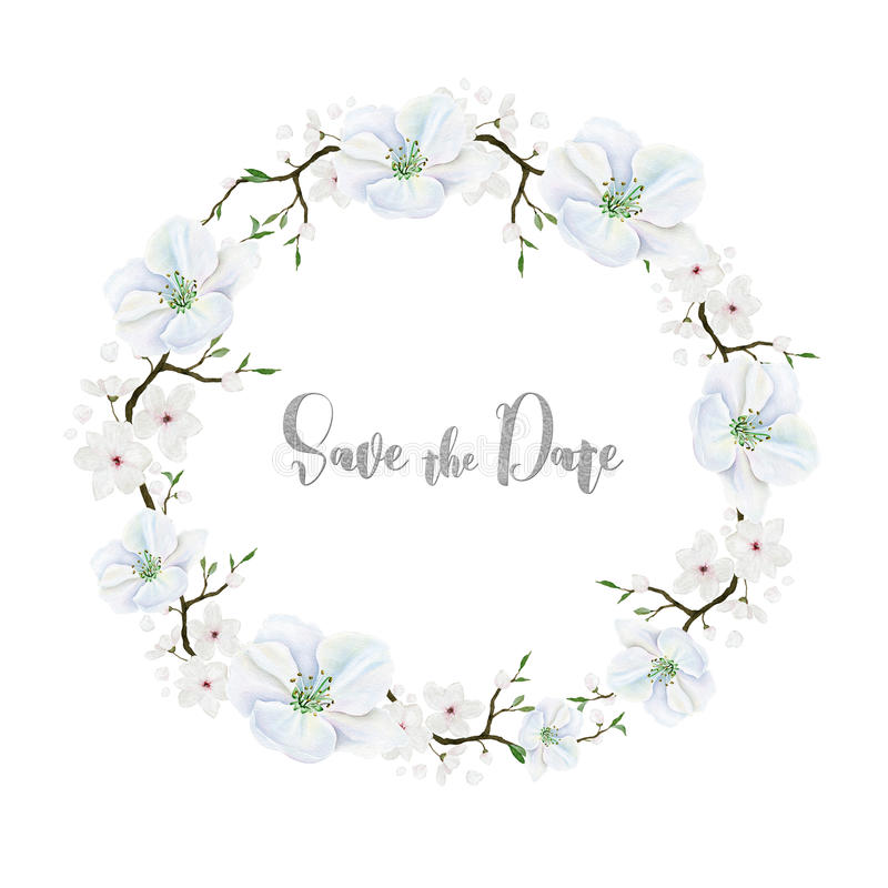 Delicate floral wreath with white flowers. Watercolor stock illustration