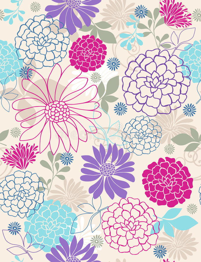 Free Delicate Flowers Seamless Repeat Pattern Royalty Free Stock Images - 12142579
