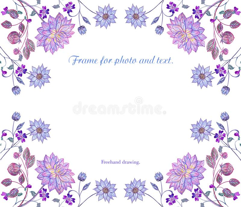 Delicate frame of painted flowers on a white background. vector illustration