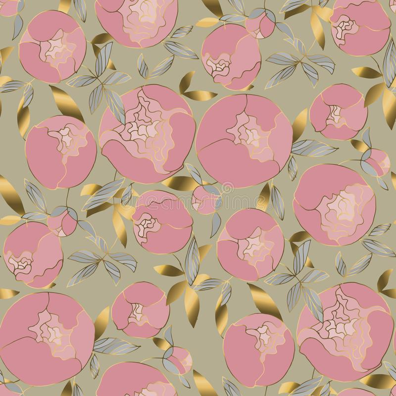Delicate gold and rosy peonies blossom seamless pattern. Spring peon floral blumming rapport in vintage 60s style. Luxury flower motif for background, textile royalty free illustration