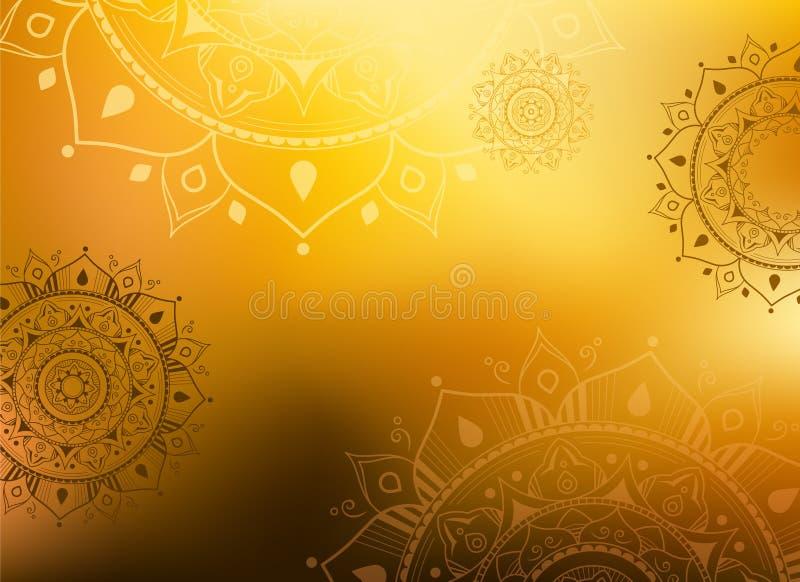 Delicate golden mandala background - illustration vector illustration