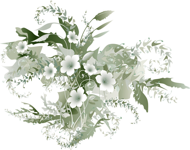 Delicate grisaille flowers stock illustration