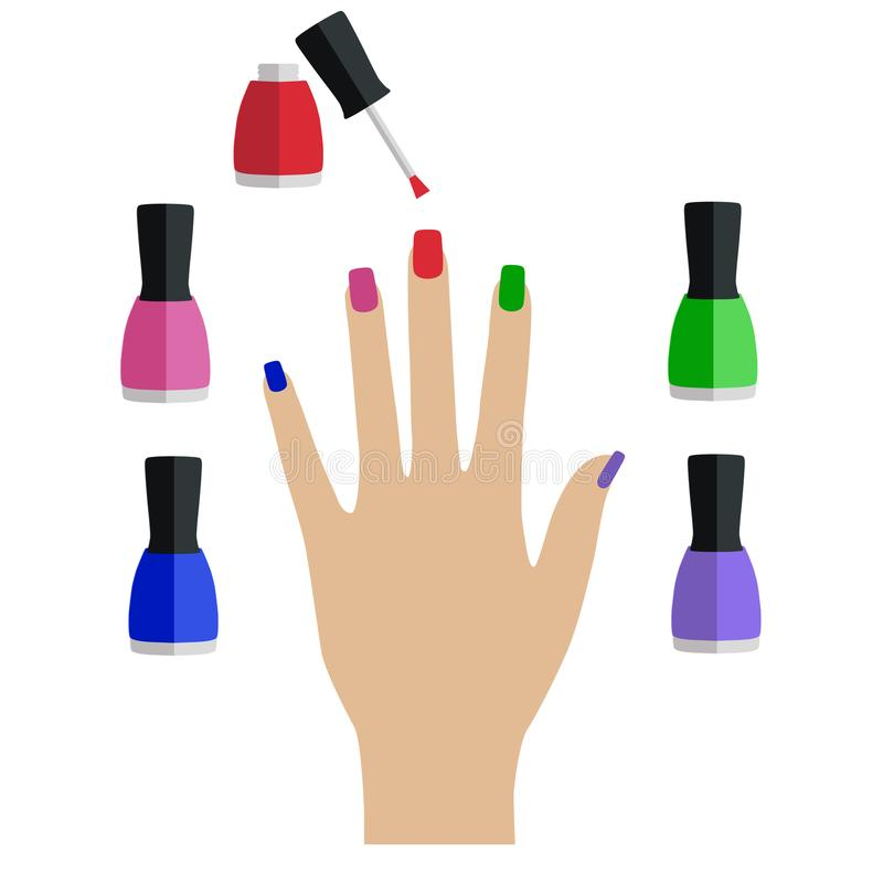 Delicate hand with colorful elements and nail lacquer bottles, white background stock illustration