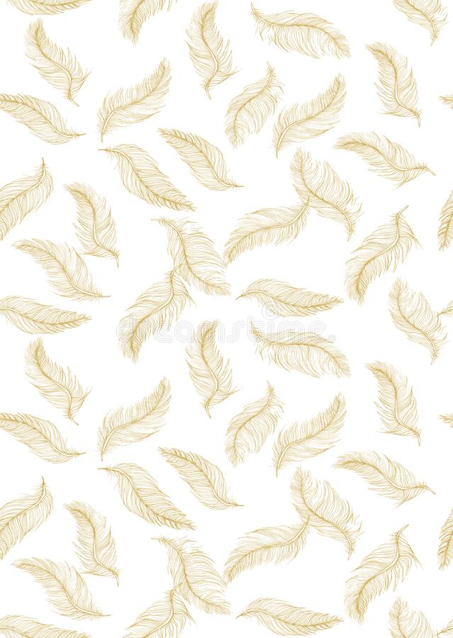 Delicate Hand Drawn Flying Feather Vector Pattern. Golden Feathers on a White Background. stock illustration