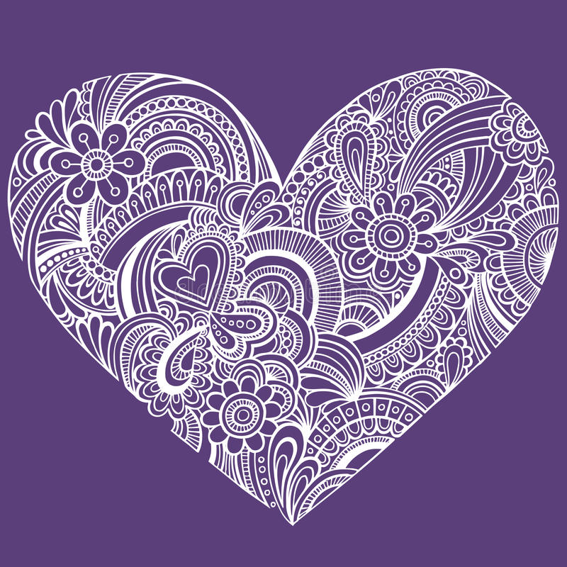 Download Delicate Henna Paisley Heart Vector Stock Vector - Image: 12142596