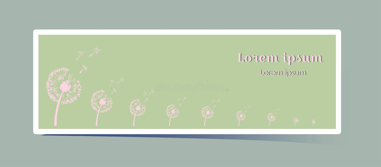 Delicate horizontal banner with dandelion flower. Pink plant silhouette on a grassy green background. With space for royalty free illustration