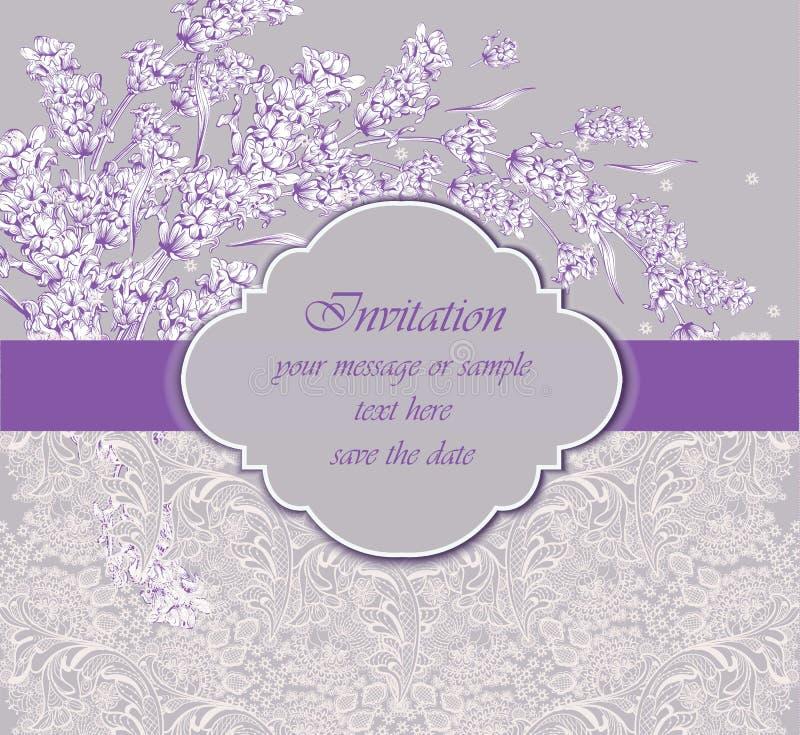Delicate lace card with lavender flower Vector. handmade vintage ornament design decor royalty free illustration