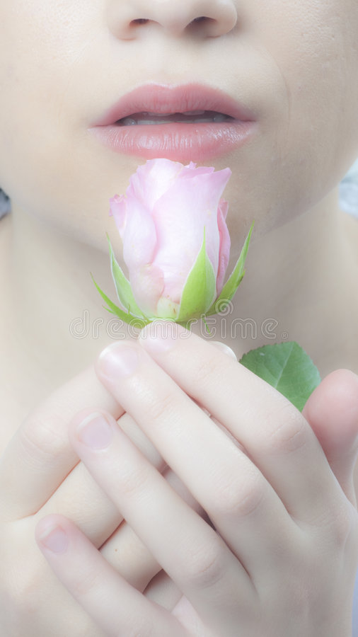 Delicate Lips And Rose Stock Photo