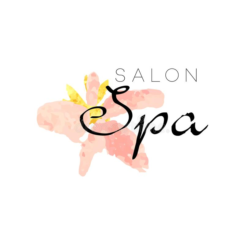 Delicate logo design for spa with abstract pink flower. Textured feminine label with gentle colors. Healthcare and vector illustration
