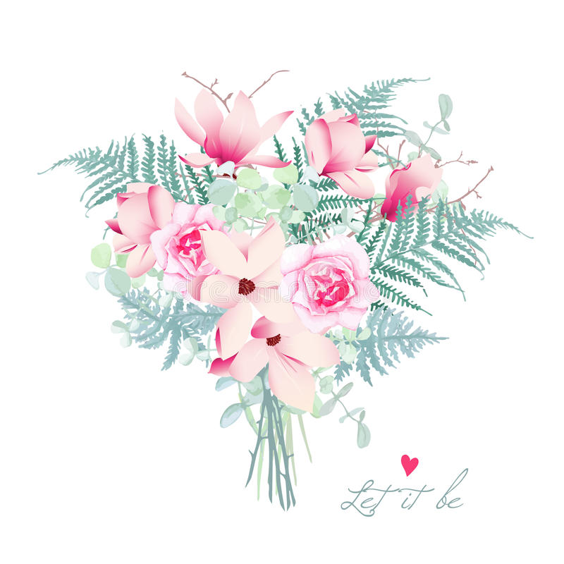 Delicate magnolia chinese styled bouquet stock illustration