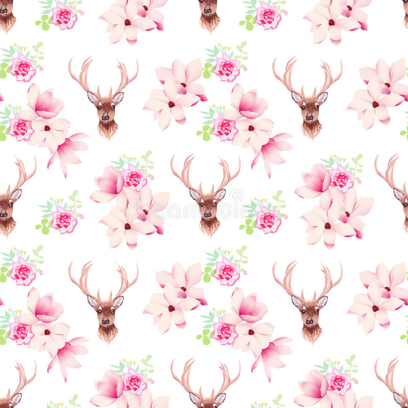 Delicate magnolia flowers and deer seamless vector print royalty free illustration