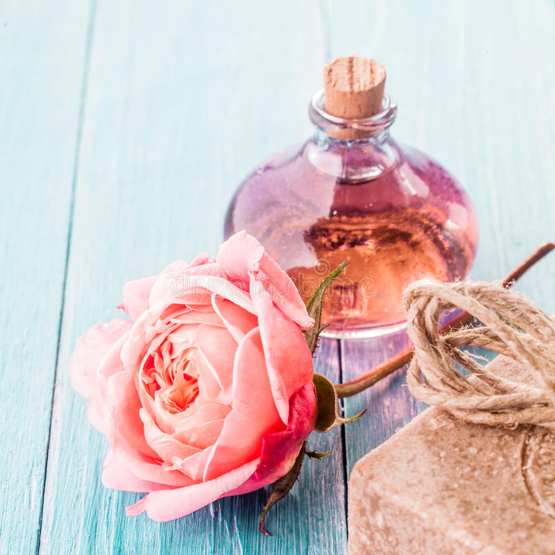 Delicate Pink Rose, Handmade Soap and Aromatic Oil royalty free stock images
