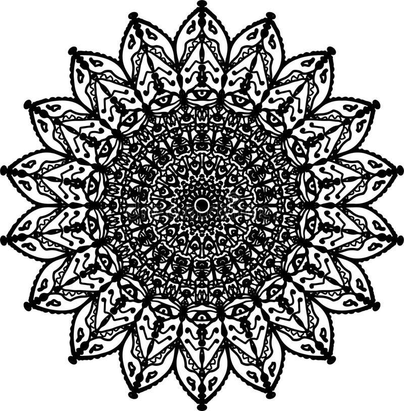 Delicate pleasant flower mandala stock illustration
